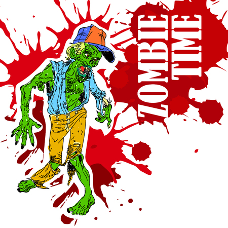 hand painted zombies. time for zombies. print for shirts Illustration