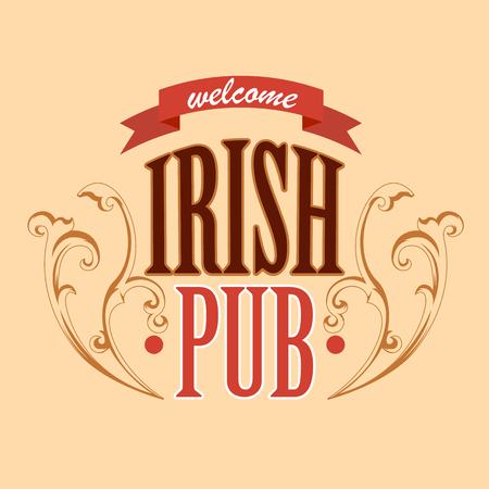 irish pub label design: welcome to irish pub banner Illustration