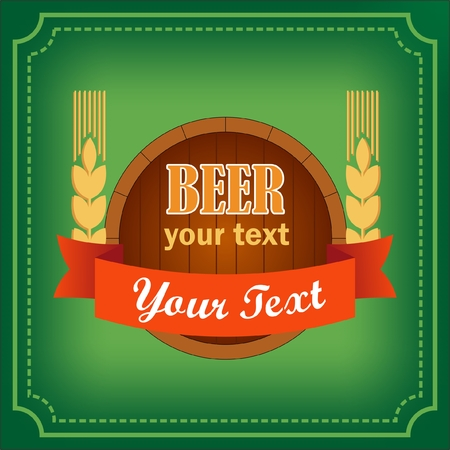 Barrel of beer logo with banner for bars and restaurants with the words and wheat on green background