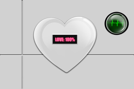 White 3D shiny heart with word love written in pink, and with green button with heart beat display
