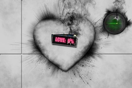 Broken 3D white heart with black smoke coming from it, word love written in pink and green button with cardiac flat line in corner 스톡 콘텐츠