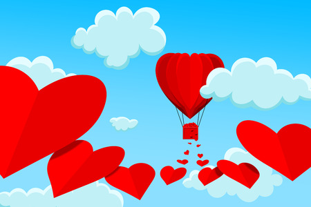Red, heart shaped hot air balloon flying among the white clouds leaving trail of big red hearts behind