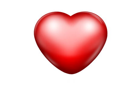 ed glossy heart on a white background