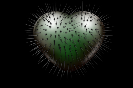 Evil green glossy heart with black spikes coming out on a black background