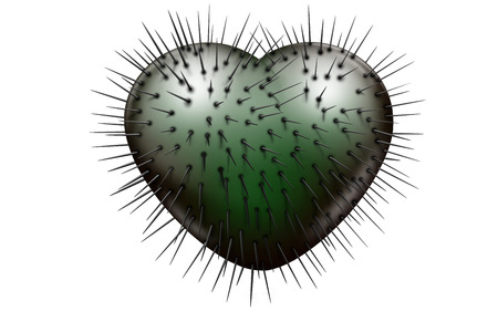 Evil green glossy heart with black spikes coming out on a white background Stock Photo