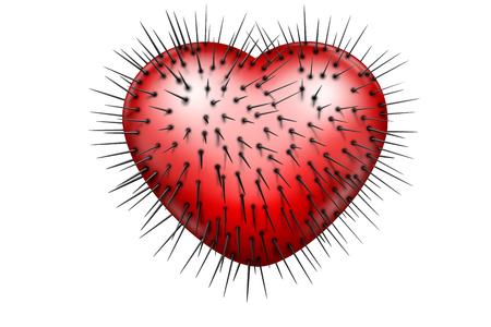 Rood glanzend hart met zwarte spijkers die eruit komen Stockfoto