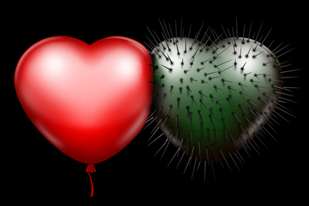 Red glossy heart and green spiked heart as a symbol of unbreakable love