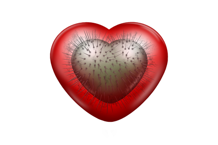 Red glossy heart with smaller green heart with spikes inside of it Stock Photo