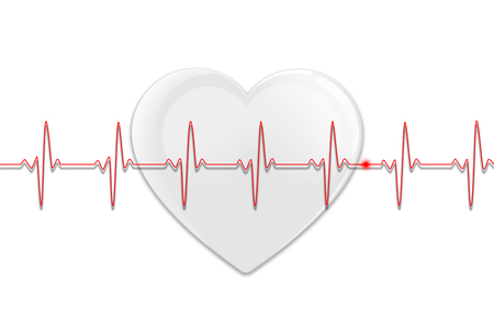 White glossy heart on a white background with red heart beat line Stock Photo