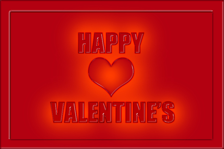 Happy Valentines caption in red letters on red background