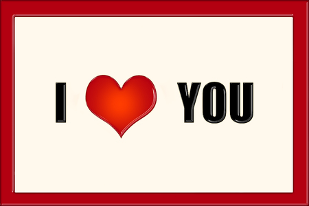 I love you caption in black letters on beige background and red frame
