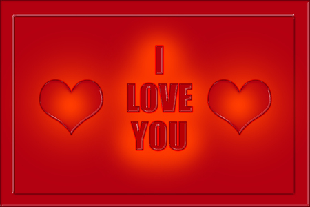 I love you caption in red letters with two hearts on each side, red color background