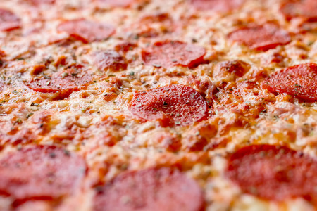 Close up detail of pepperoni pizza