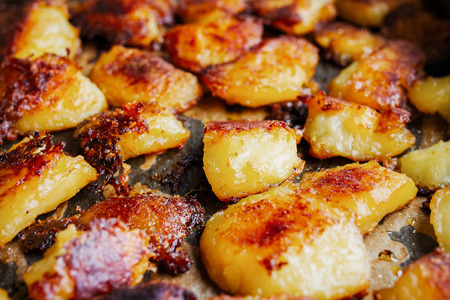 Roasted russet potatoes golden and crispy Stock Photo