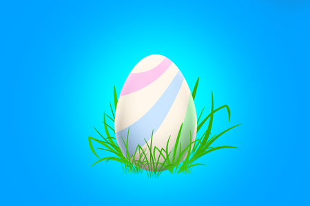 Easter egg with pastel stripes standing in a grass on a blue background Stock Photo