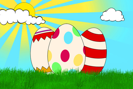 3 colorful decorated Easter eggs on a grass field with yellow sun and white clouds on blue sky