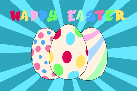 Colorful Easter eggs on a striped blue background with Happy Easter lettering