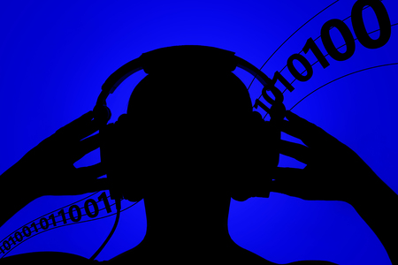 Silhouette of man with headphones on blue background, absorbing information, binary code floating in the background