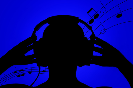 Silhouette of man with headphones on blue background, listening to music, notes flowing in the background Stock Photo - 102849128
