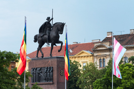 Zagreb, Croatia, 06/08/2018, King Tomislav statue with gay pride flags in anticipation of Zagreb Pride parade 스톡 콘텐츠 - 115711833