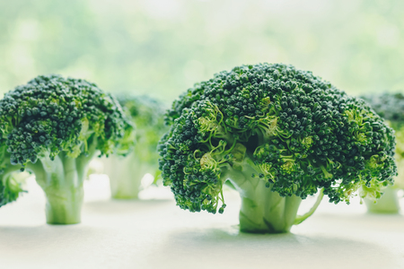 Broccoli florets neatly arranged looking like little tree, with pastel green bokeh background Stock Photo