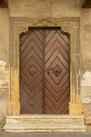 Wooden door in the old street in Zagreb Stock Photo