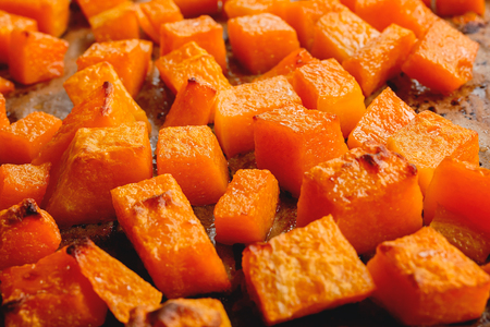 Close up of roasted butternut squash cubes