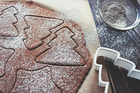 Gingerbread dough, rolled out with different Christmas shapes cut into it and sprinkled with powdered sugar on a table with cookie cutter