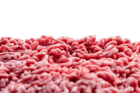 Ground meat, pork and beef with white background