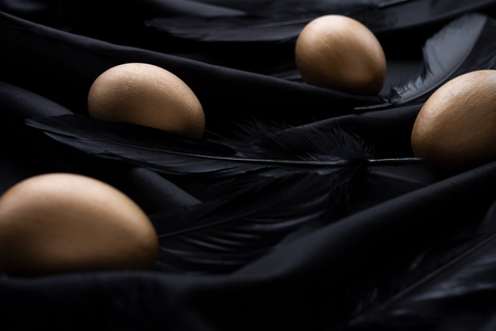 Elegant golden Easter eggs and black feathers on a silky black background