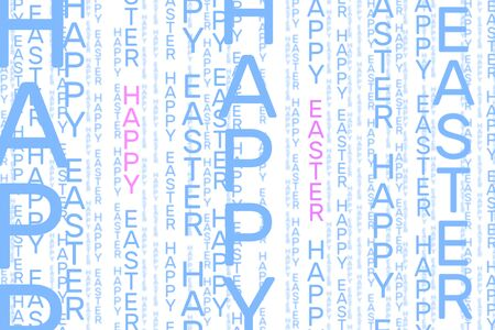 Happy Easter vertical word pattern in light blue and pink on white background 스톡 콘텐츠