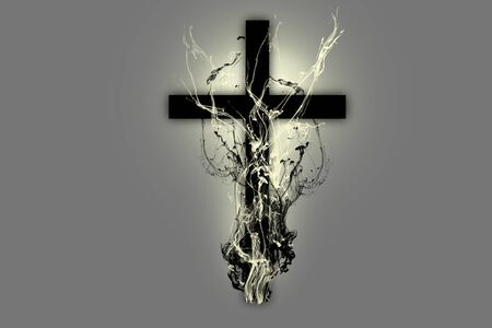Black cross back lighted with black and white smoke surrounding it on a grey background 스톡 콘텐츠