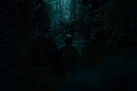 Scary dark male figure in a hoodie standing between trees with mysterious light coming behind him, night horror scene in forest
