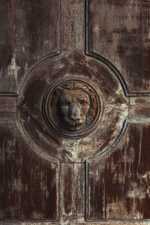 Old and weathered wooden lion head on and old wooden door