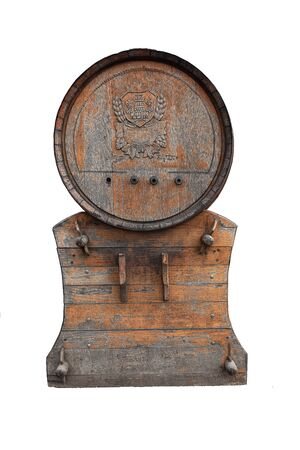Old wooden barrel with a stand, isolated on a white background