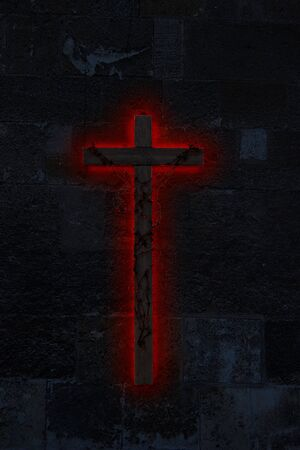 Big ominous wooden crucifix on a dark, stone wall wrapped in incandescent barbed wire with red glow underneath