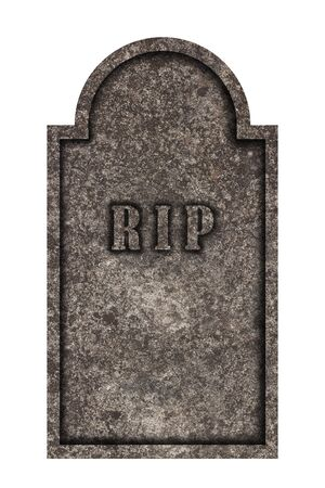 Decorated, oval granite tombstone on white background with engraved R.I.P. lettering