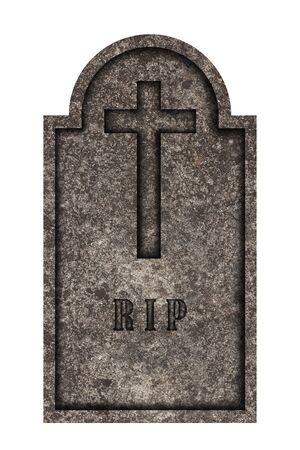 Decorated, oval granite tombstone on white background with engraved R.I.P. lettering and engraved cross