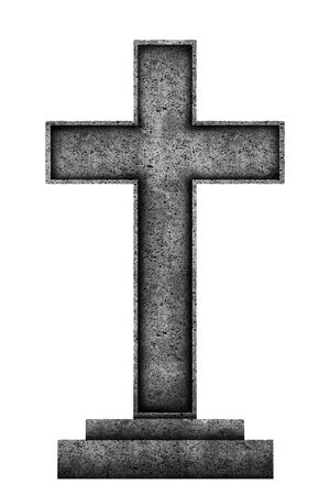 Big granite cross isolated on white background 스톡 콘텐츠