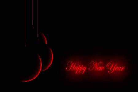 Happy New Year words in glowing red on black background with three red silhouettes of red baubles hanging on strings 스톡 콘텐츠