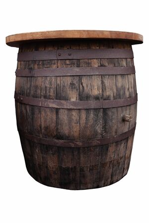 Old, brown, wooden barrel on the white background, cut out Banque d'images - 142149195