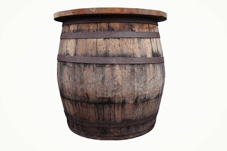 Old, brown, wooden barrel on the white background, cut out Banque d'images - 142149197