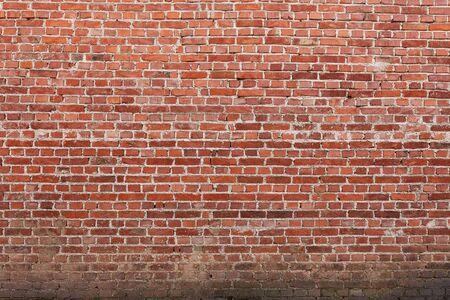 Red brick wall, close up