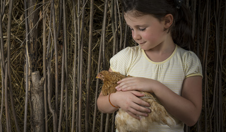cradling: Seven years old girl in countryside holding a chick. Stock Photo