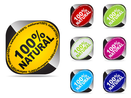 100% natural web buttons different colors Stock Vector - 6175454