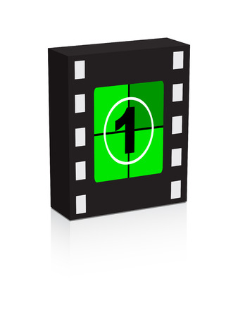 number one film strip on box illustration Vector