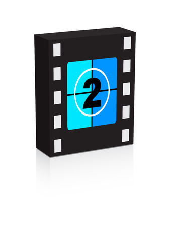 number two film strip on box illustration Vector