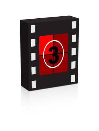 number three film strip on box illustration Vector