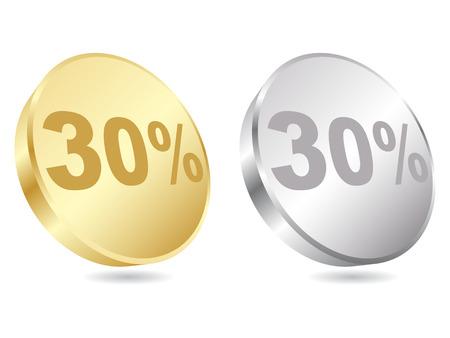 thirty: thirty percent discount icon illustration