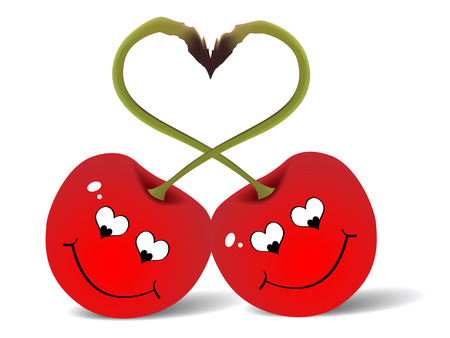 abstract art vegetables: Two red cherries love illustration Illustration